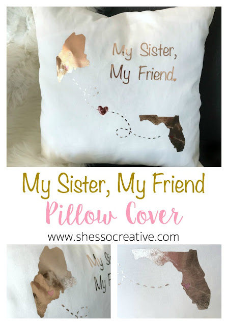 Pinterest Pin of the My Sister, My Friend Pillow Cover