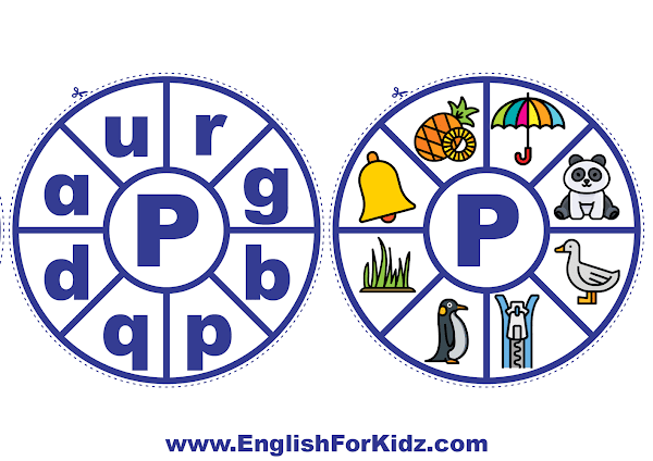 Alphabet matching wheel - letter p - clothespin ABC activities