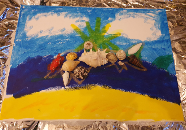 Making use of our seashell collection kids art