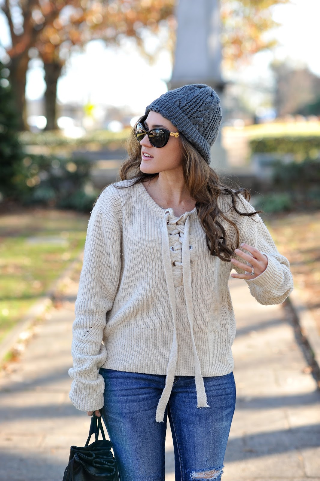 Tie front Sweater from GearBest - Style Blogger Erica Valentin