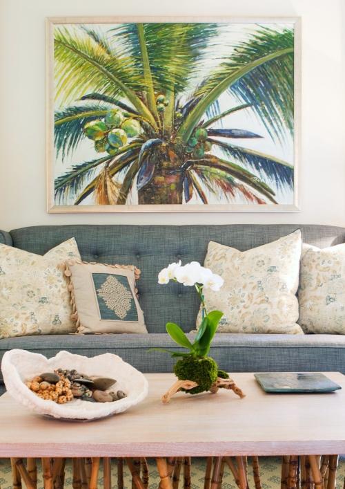 Tropical Green Palm Living Room Decor Design Ideas