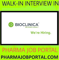 Bioclinica India Pvt. Ltd Walk In for Freshers & Experienced B.Pharm, M.Pharm, D.Pharm, B.Sc, BDS, BHMS, BAMS at 3  November