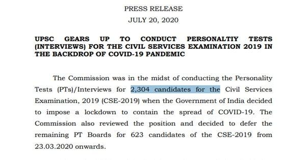 Upsc Notice for Personality Tests (PTs) 20 July 2020