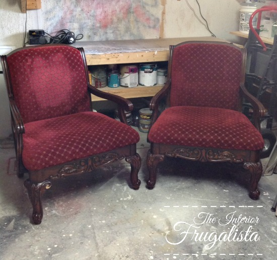 Queen Anne Armchairs before makeover