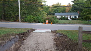 new crosswalk being added on Pleasant St to enable access to the DelCarte property  and foster walking on the newly installed sidewalk