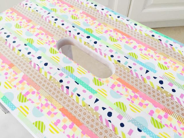 washi tape step stool makeover