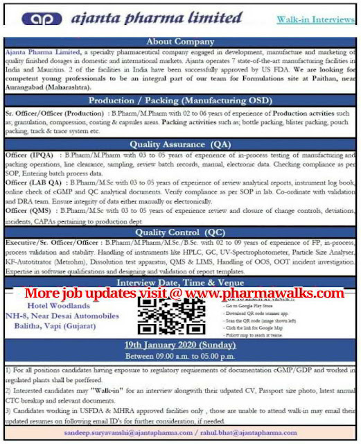 Ajantha Pharma Ltd walk-in interview for multiple positions - Production / Packing / QA / QC on 19th Jan' 2020