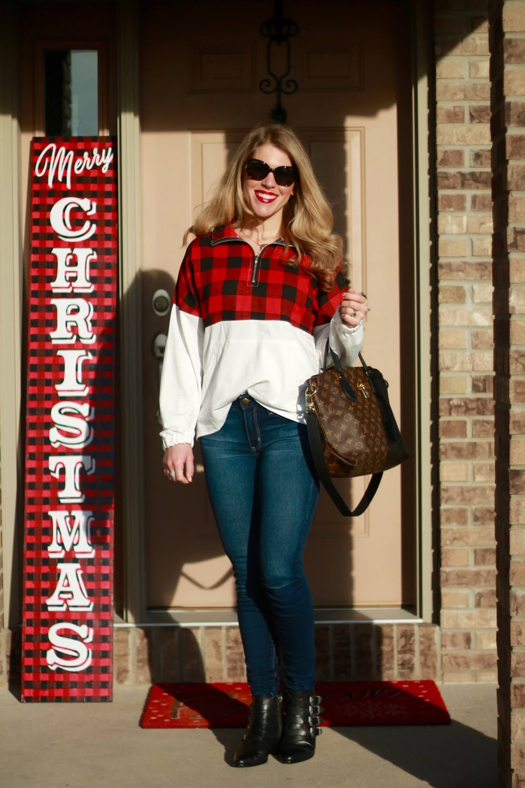 buffalo plaid colorblock quarter zip pullover, LV flower zippered tote, black ankle buckle booties,