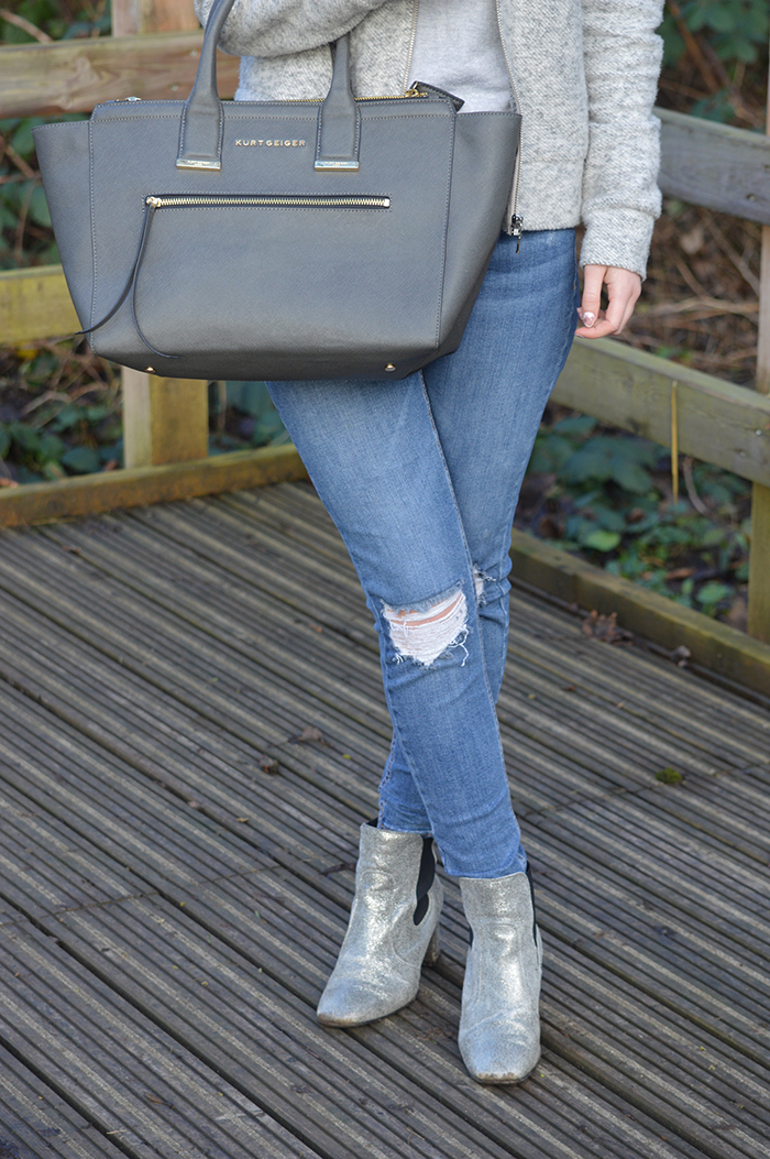 Dune silver boots fashion bloggers