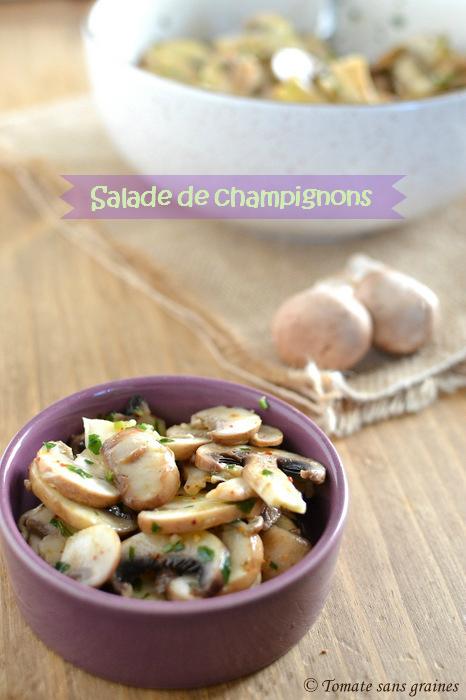 Salade de champignons marinés au persil et au piment d'Espelette