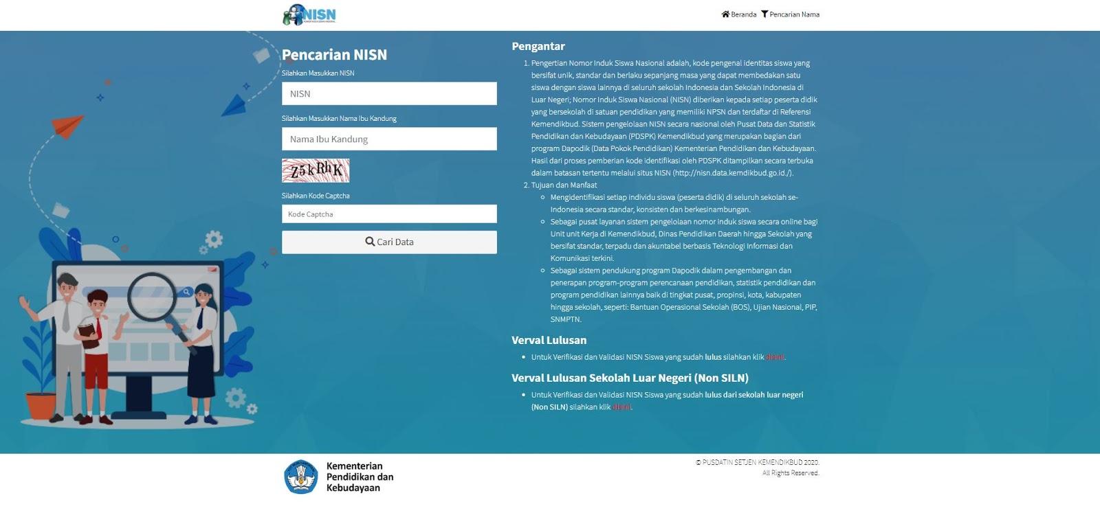 Tampilan web NISN yang sudah berhasil diakses