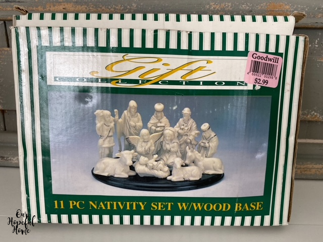 11 piece nativity scene with wood base box set