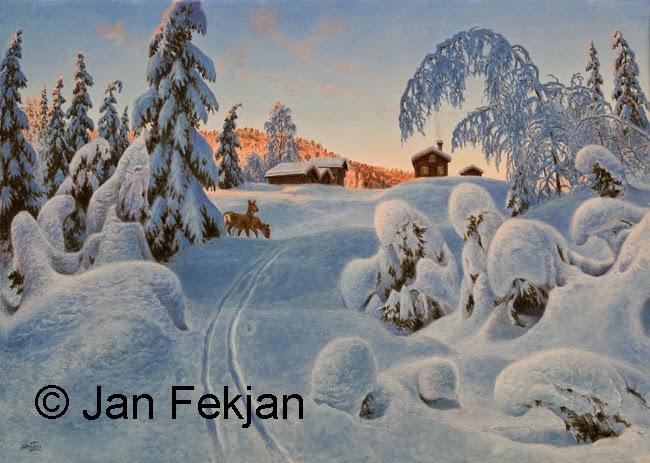 Bilde av digigrafiet 'Blåtimen'. Digitalt trykk laget på bakgrunn av et maleri. Et vintermotiv med snøtunge trær, to rådyr og en gård i bakgrunnen. Stilen kan beskrives som figurativ, nasjonalromantisk og realistisk. Bildet er i breddeformat.
