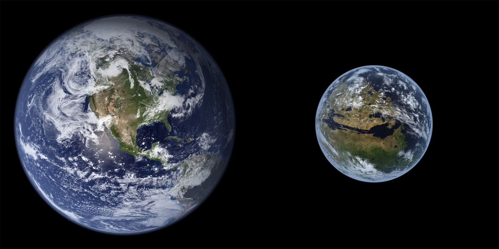 Earth and terraformed Mars to scale