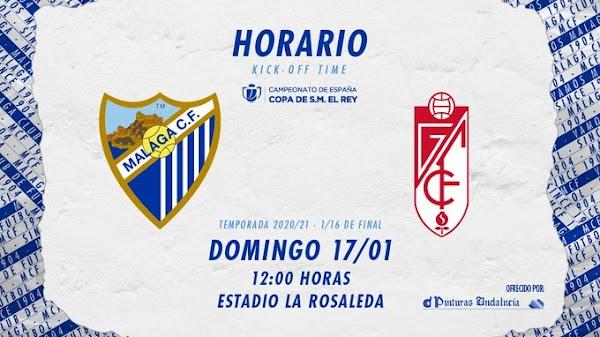 El Málaga - Granada de Copa del Rey se juega el domingo 17 de enero a las 12:00 horas