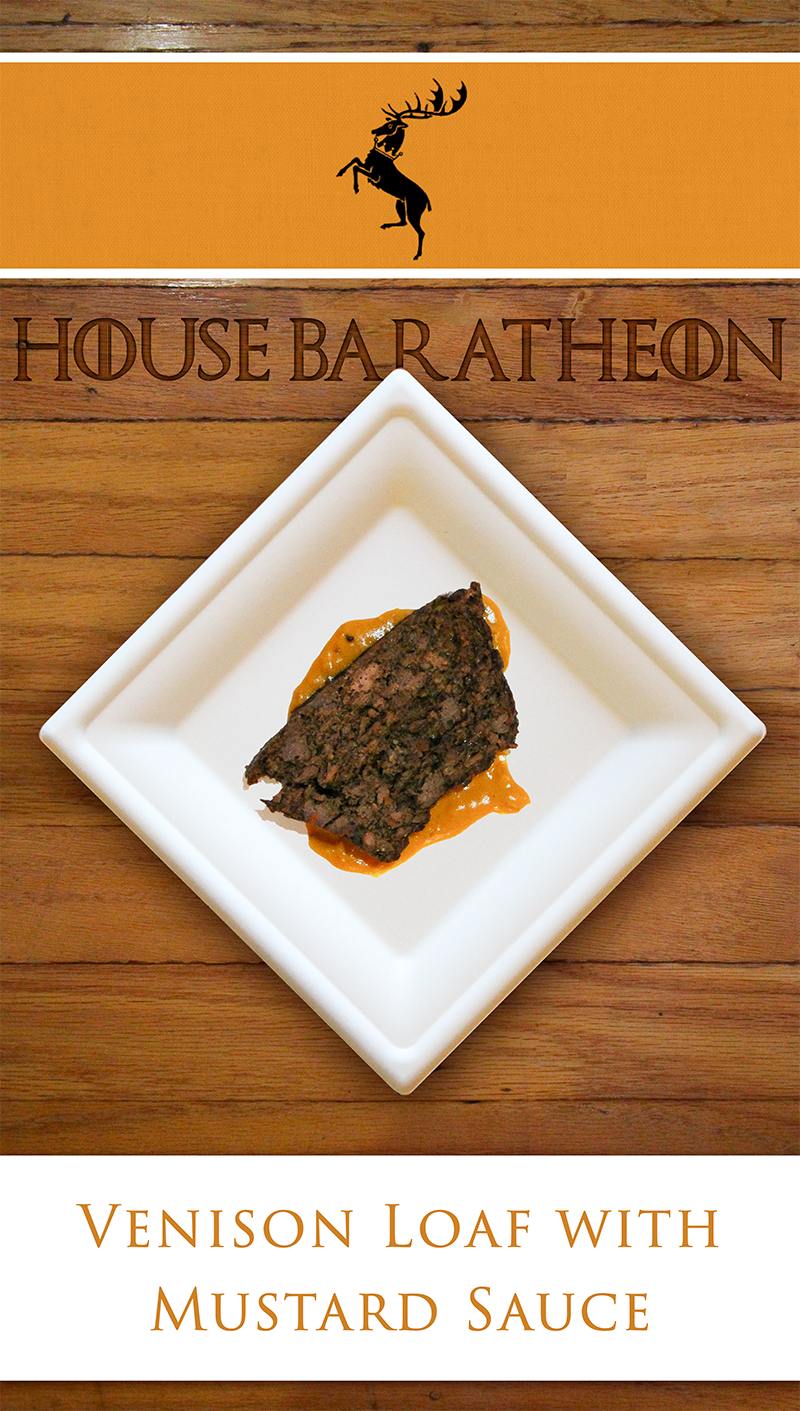 House Baratheon's crowned stag sigil is recreated in a delicious manner with this venison meatloaf served with a mustard sauce. A great main course for a Game of Thrones dinner party.