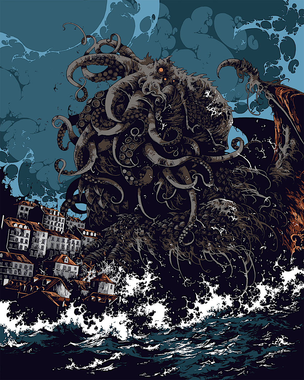 Ivan Belikov, a giant sea monster attacting an urban waterfront