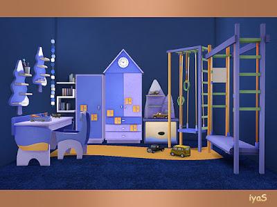 Aquarelle Set Набор Акварель для The Sims 4 Комплект для детской комнаты. Включает в себя 10 предметов, 4 варианта цвета. Предметы в наборе: - два комода, - письменный стол, - два стула, - кресло, - кладовка, - полка, - функциональная игрушка - коврик. Автор: soloriya