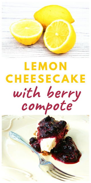 Lemon Cheesecake with a Blueberry & Raspberry Compote #cheesecake #lemoncheesecake #dessert #lemondessert #fridgecake #berries #berrycompote