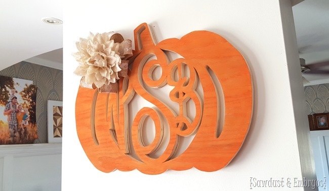 Wood pumpkin monogram