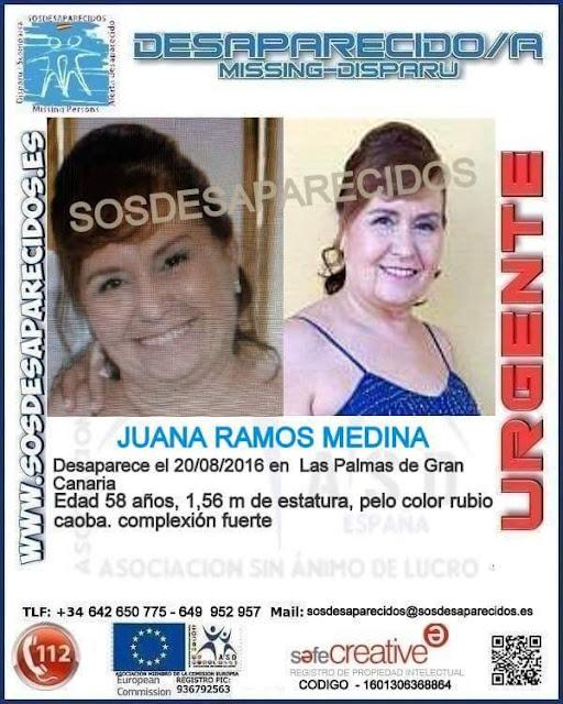 Juana Ramos Medina Mujer desaparecida Las palmas Gran Canaria 20 agosto
