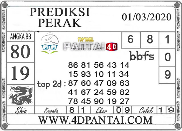 PREDIKSI TOGEL PERAK PANTAI4D 01 MARET 2020