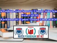 Soal Penilaian Akhir Semester/ Ulangan Akhir Semester Kelas 2 SD/MI Kurikulum 2013 Update Terbaru Tahun 2018/2019