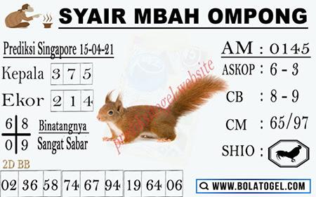 Syair Mbah Ompong SGP Kamis 15-Apr-2021