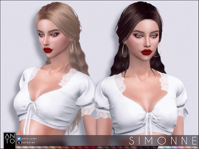 Anto - Simonne (Hairstyle) Анто - Симонна (Прическа) для The Sims 4 27 цветов работает со шляпами гладкой оснастки Автор: Anto