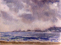 water colour painting of a seashore from Goa by Manju Panchal