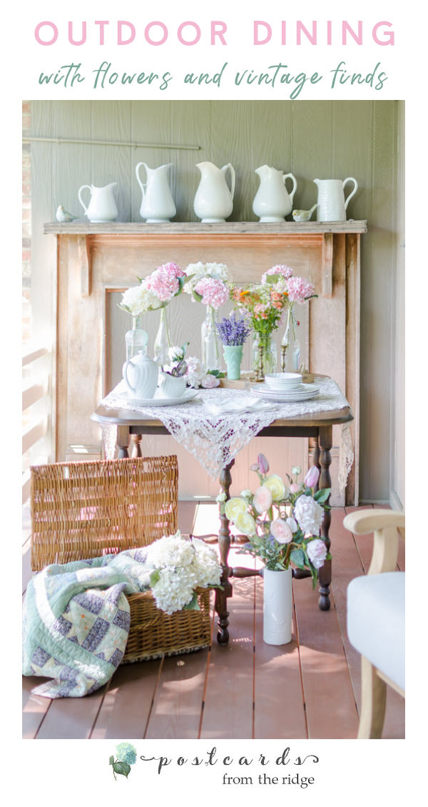 vintage mantel with white pitchers, old basket with antique quilt