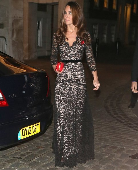 The Duchess of Cambridges, wore a black and nude lace dress by Alice Temperley which she previously wore to the premiere of War Horse.