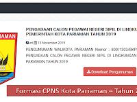 Formasi CPNS 2019 Kota Pariaman