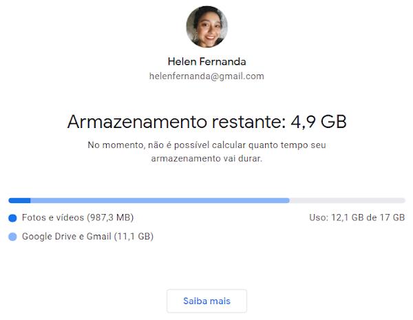 Helen ainda tem 4,9 GB livres