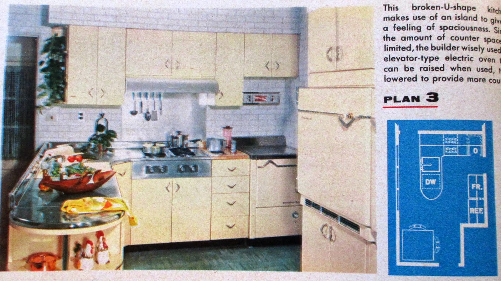 The literate quilter what was new in kitchen design in 1957 for Jaren 60 interieur
