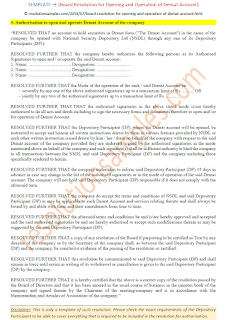 board resolution for operation of demat account