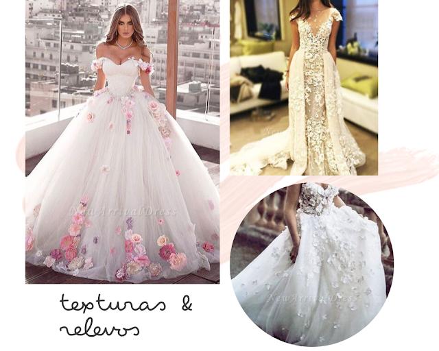 vestido de noiva com textura