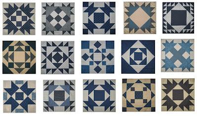Blue and lights quilt blocks