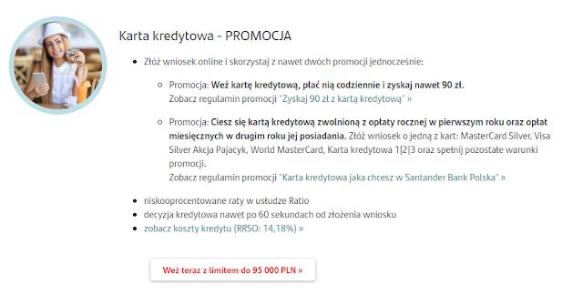 Zaproszenie do promocji z premią do 90 zł za kartę kredytową Santander Banku