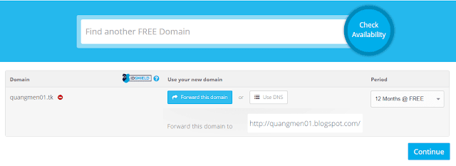 Tới đây bạn chọn Forward this domain