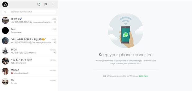 Tampilan WhatsApp Web di PC atau Laptop