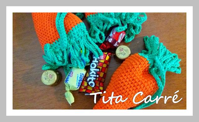 Bolsinha Cenoura em crochet