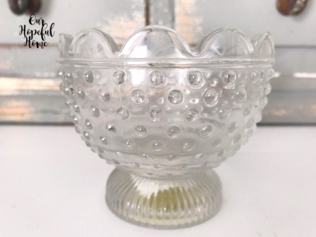 clear hobnail footed bowl candy dish