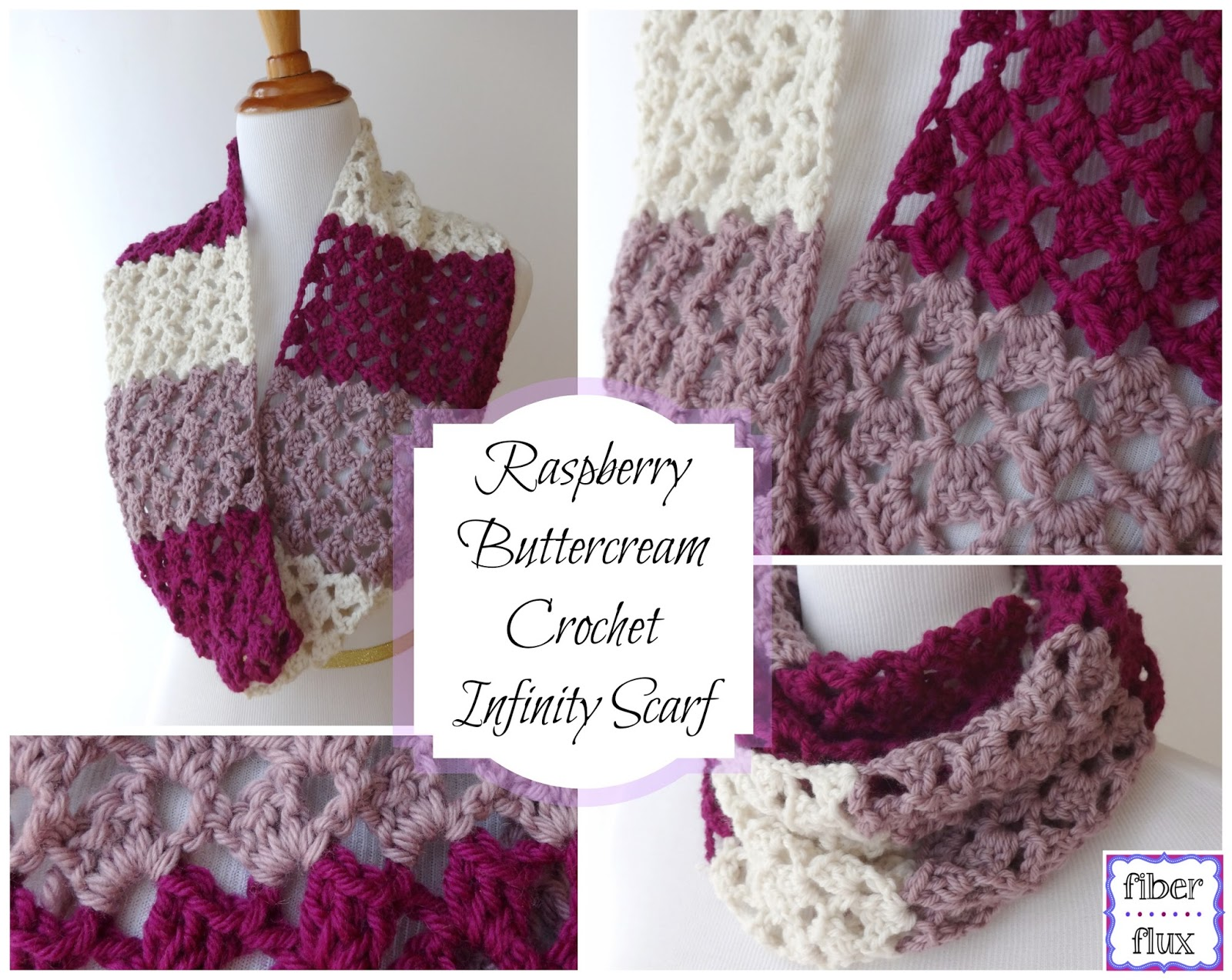 Fiber Flux Free Crochet Patternraspberry Buttercream Infinity Scarf