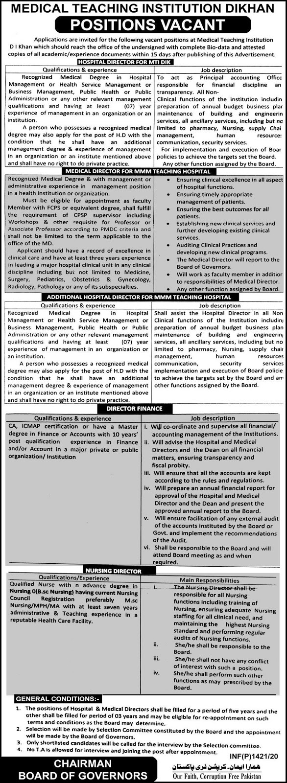 Medical Teaching Institution DI Khan Jobs 2020