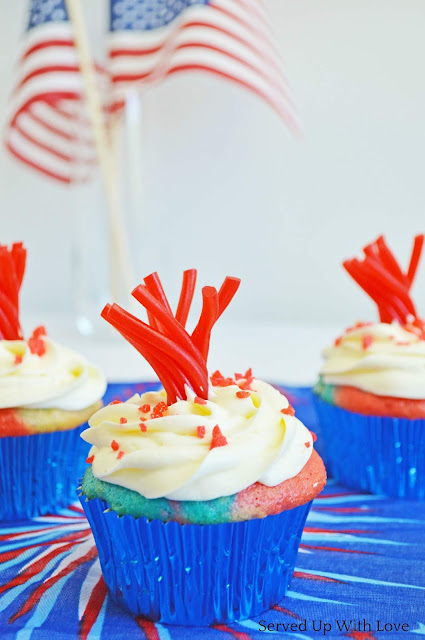 Firework Cupcakes recipe from Served Up With Love