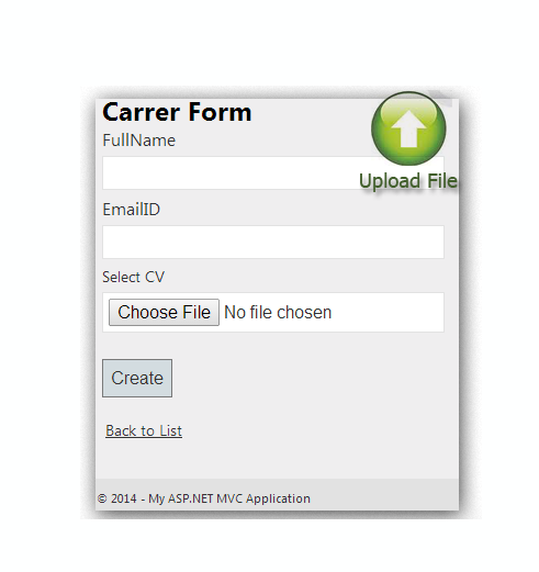 How to create career page with Upload file (CV) in MVC4