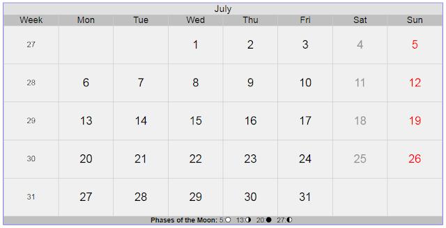 Calendar for July 2020 Sweden
