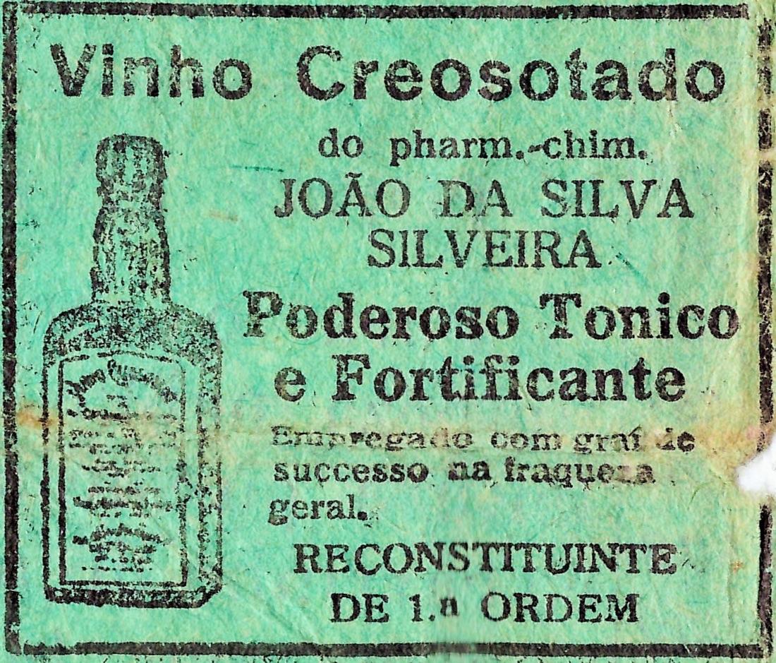 Propaganda antiga veiculada em 1932 promovendo o Vinho Creosotado
