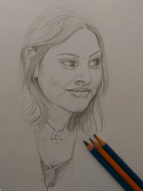 Pencil drawing study girl